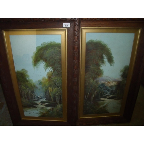 268 - Pair of late Victorian framed & mounted river landscape scenes in oak frames of Fairy Glen in Wales ...