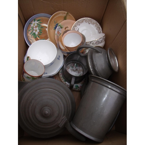 27 - Pewter tankard, Sheffield pewter three piece tea service, various ceramics etc in one box...