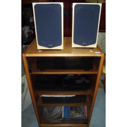 28 - Music system - 2 x Quad Hi Fi 100w speakers, Thorens turntable TD 280 MK N, Denon AM/FM stereo Dab r...