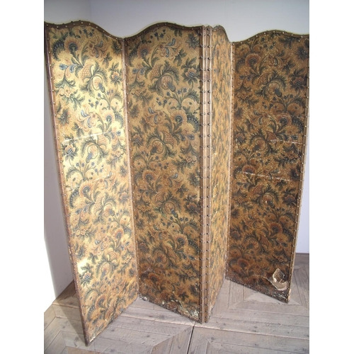 298 - Late Victorian four sectional folding room screen...