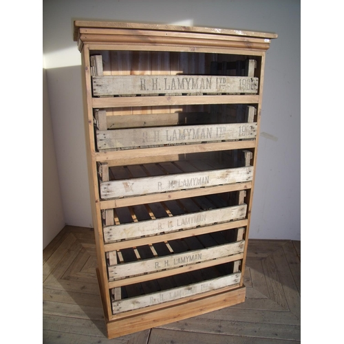 299 - Pine six tier storage/vegetable rack with slide out vintage vegetable trays (87cm x 51cm x 152cm)...