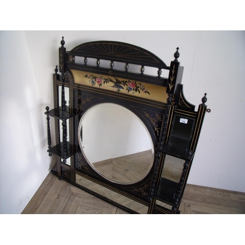 336 - Victorian ebonised and gilt work over mantel mirror with painted bird & floral pattern detail, with ...
