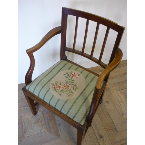 389 - 19th C country style mahogany armchair with drop-in wool work upholstered seat, on square supports a...