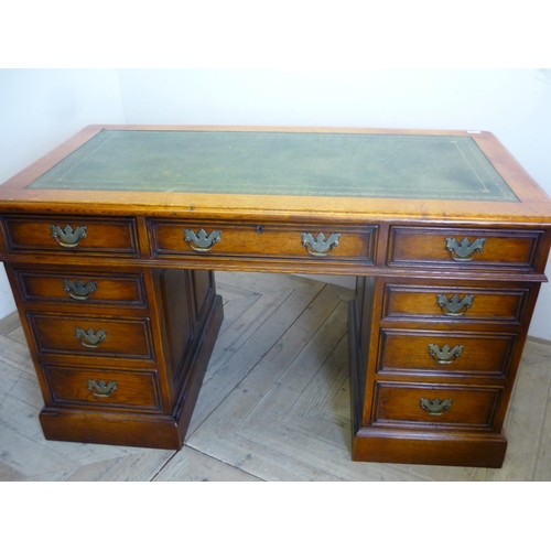 390 - Superb quality golden oak twin pedestal desk with green leather insert top, handmade by Stanley Crum...