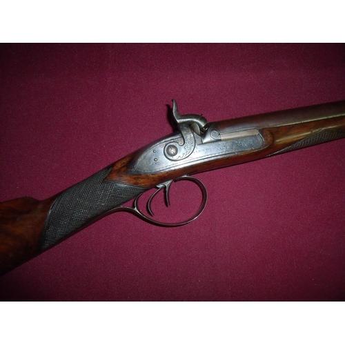 684 - John Manton 20 bore bar action percussion sporting double barrelled gun, circa 1805 converted  from ...