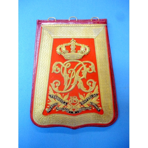 107 - Victorian 18th Hussars officers sabretache with Coat of Arms against red velvet background and gilt ...