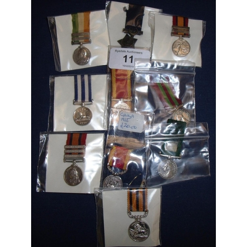 11 - Group of Victorian miniature medals including some re stripes, including Khedive's Star, Afghanistan...