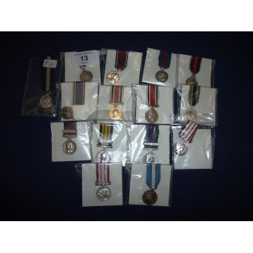13 - Group of Coronation & Jubilee miniature medals, Police miniature Service Medals, Long Service Medals...