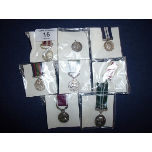 15 - Group of various miniature service medals including George V, George VI, ERII including India, GSM, ...