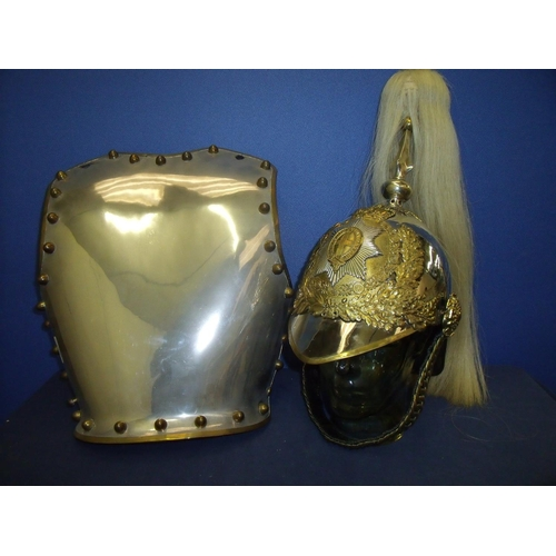 159 - ERII Lifeguards Troopers helmet with white horse hair plume complete with liner, chin strap and asso...