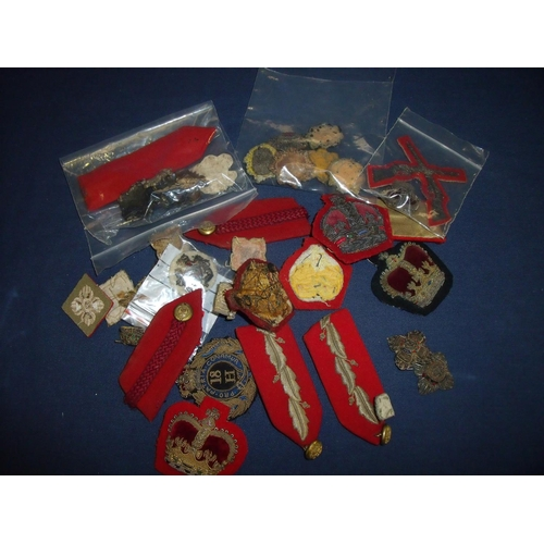 18 - Selection of Victorian and later mostly cloth and embroidered officers pips, insignia and collar tab...