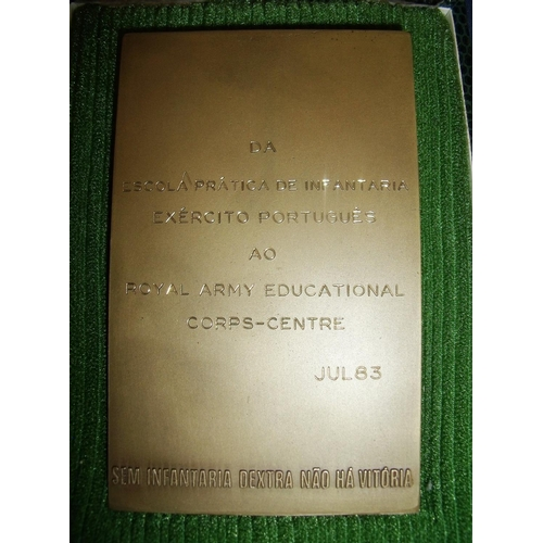 23 - Cased Portuguese Infantry bronze plaque with inscription to the back for The Royal Army Education Co...