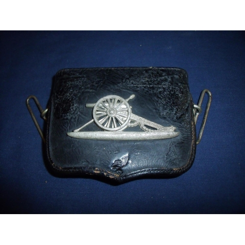 26 - Late 19th C officers small black leather pouch of The Volunteer Artillery, with silver plated cannon...