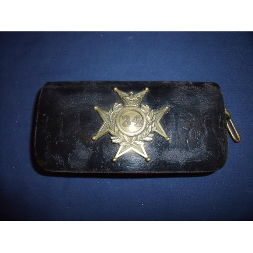 27 - Victorian 34th (Cumberland) Regiment pouch with gilt metal flap badge and belt strap mounts of recta...