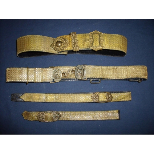 29 - Post 1902 Artillery officers full dress waist belt, sword straps and cross belt with gold laced band...