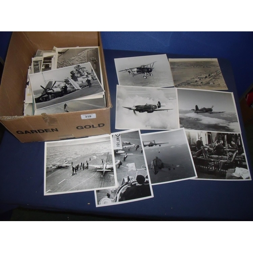 318 - Box containing a quantity of early aviation photographs and photographic prints including many origi...