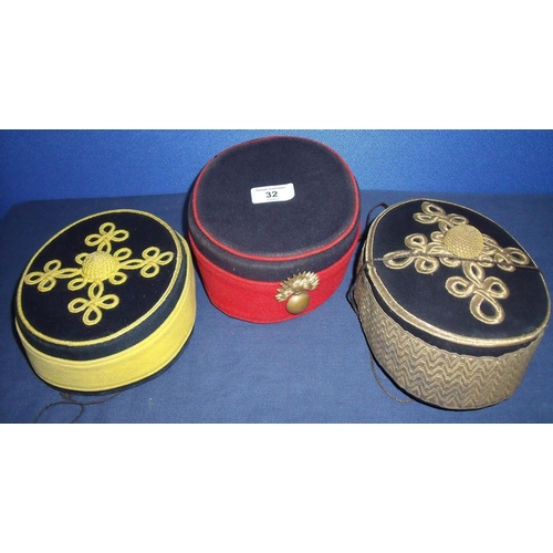 32 - Three Victorian pillbox hats including artillery and Yeomanry (3)...