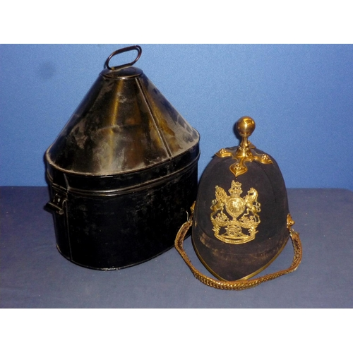 36 - Victorian Royal Artillery Home Service pattern blue cloth helmet with ball finial, complete with lea...