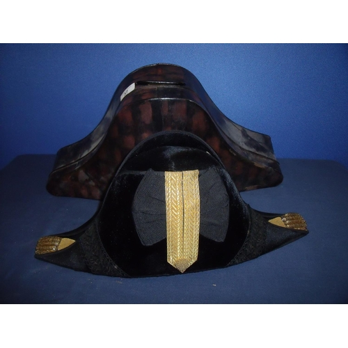 37 - Naval officers bicorn hat with gilt braided mounts at fore and aft peaks with central braid and silk...