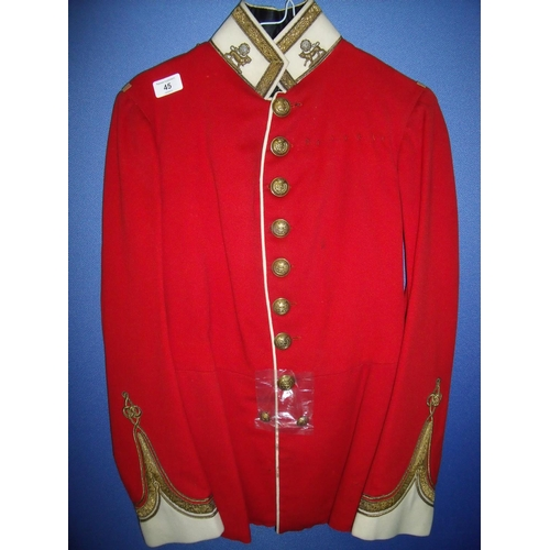 45 - Yorks & Lancaster Regiment officers tunic with associated collar dogs (lacking epaulettes), with int...