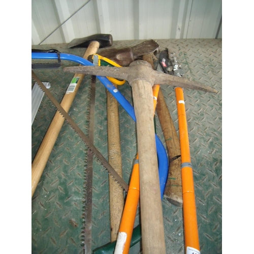 13 - Selection of outdoor tools including pickaxe, axes, sledge hammer etc...