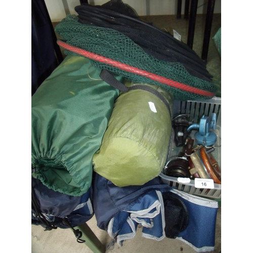 16 - Selection of fishing reels, nets, fishing shelter, inflatable mattress and two folding chairs...