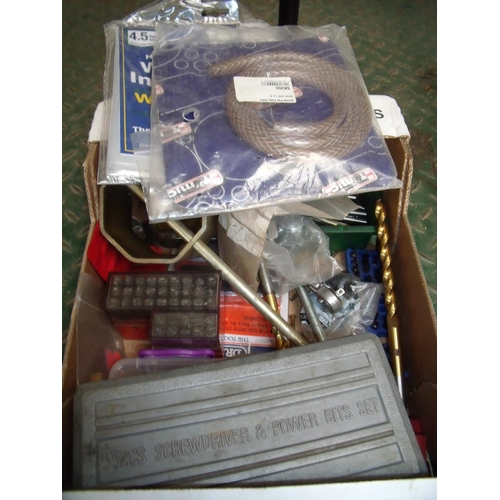 20 - Box containing various items including Warmseal window insulation, various large drill bits, screws,...