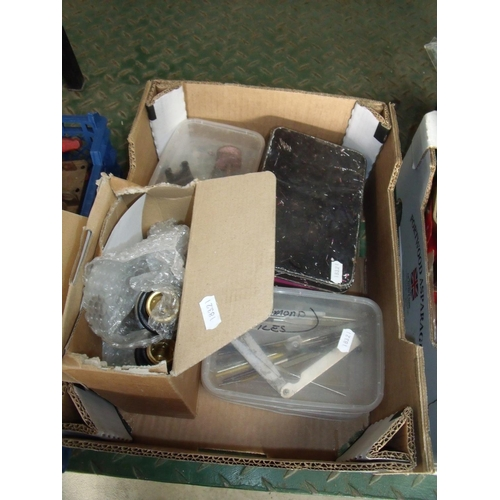 21 - Box containing a selection of various items including diamond files, various nuts and bots, tacks an...
