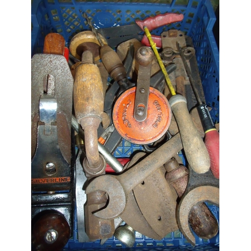 22 - Box containing a small selection of hand tools including a hand drill, plane, chisels, spanners etc...