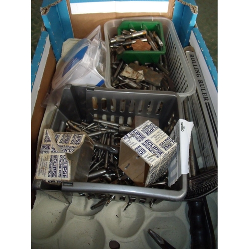 24 - Box of various bits, routers, rolling ruler etc...