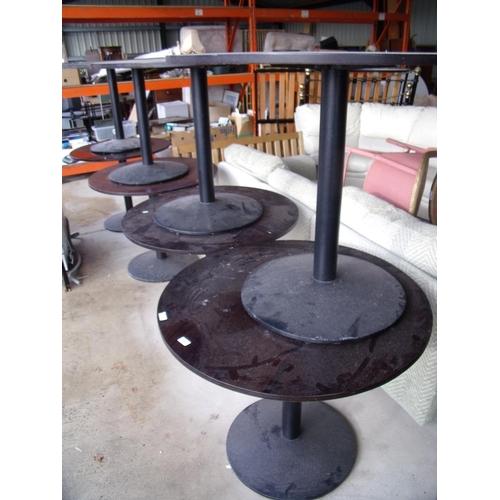 30 - Eight pub/café circular top tables with metal bases (diameter 91cm)...