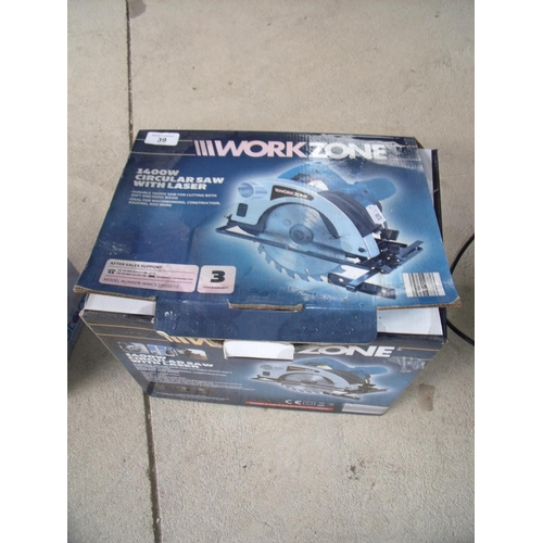 39 - Boxed Workzone circular saw with laser...