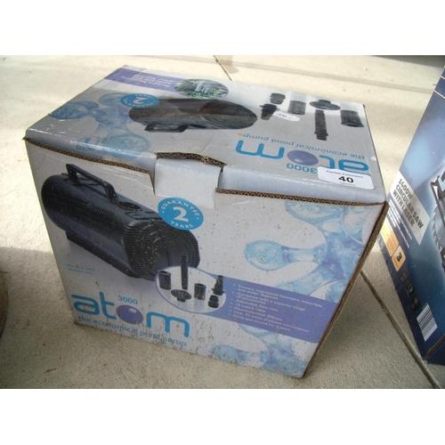 40 - Boxed Atom 3000 pond pump...