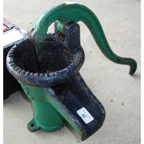 42 - Vintage water pump top with handle...
