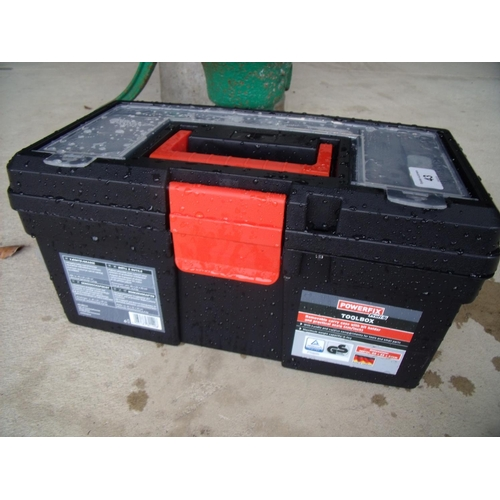 43 - Plastic toolbox with a selection of various tools...