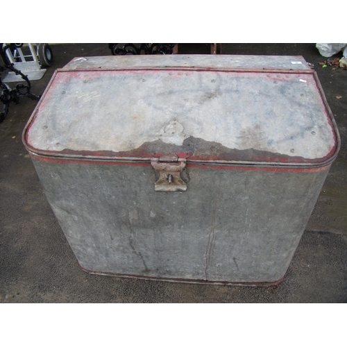 48 - Large galvanised metal feed bin...