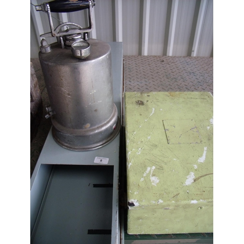 8 - Two electrical type boxes and a pressure container...