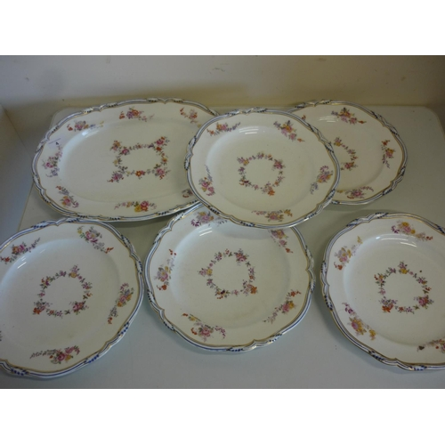 20 - Set of five late 19th C continental dinner plates painted with floral detail, the underside marked 9...