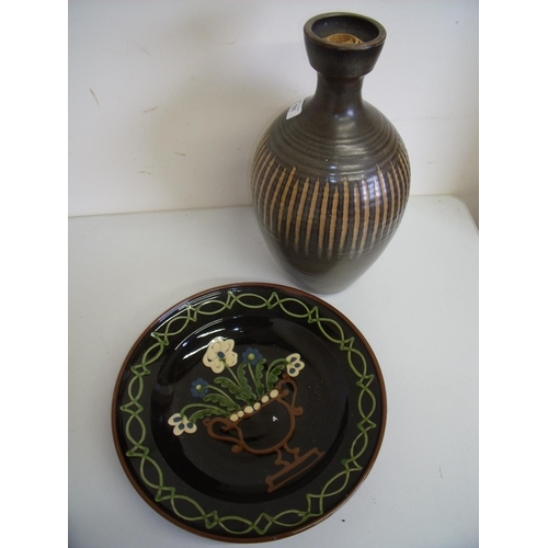 31 - Large Studio pottery vase (approx. 40cm high) and a similar slip glaze style charger (diameter 34cm)...
