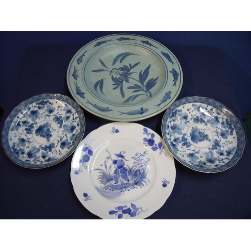 19 - Group of 19th/20th C ceramics including blue and white hand painted plate depicting a China man on r...