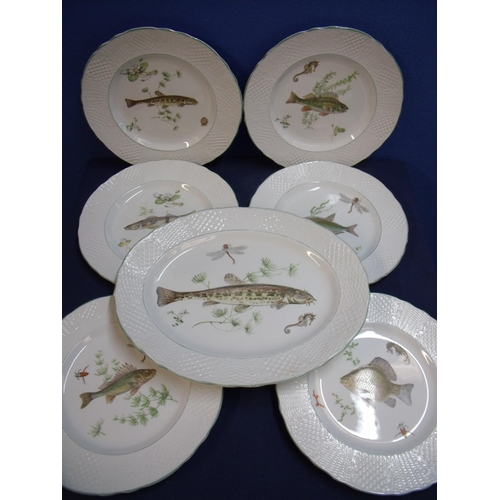 2 - Set of six Marlborough old English iron stone (by Simpson potters Ltd.) dinner plates depicting vari...