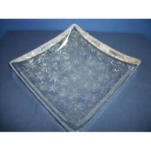 23 - Large square mid 20th C shallow glass platter with floral detail (27cm x 27cm x8cm)...