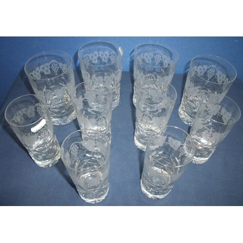 28 - Set of six quality Tudor Crystal of Stourbridge high ball glasses with etched vine leaf detail and a...