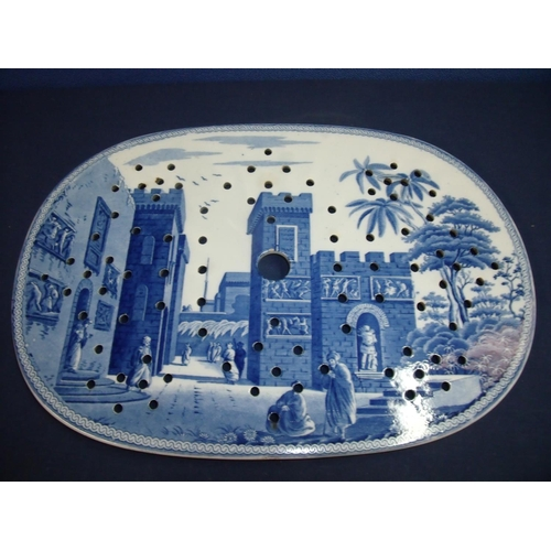 30 - Early 19th C Spode oval blue and white drainer tray depicting Eastern fortified town landscape scene...