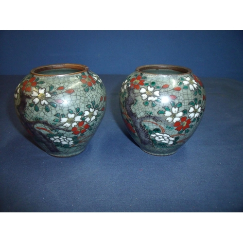 36 - Pair of early 20th C Japanese crackle-glazed vases of bulbous squat form (1 A/F) (12cm high)...