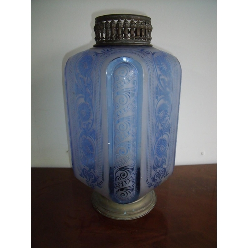 37 - Unusual late 19th C blue and etched glass hanging latern shade with brass mounts (40cm high)...