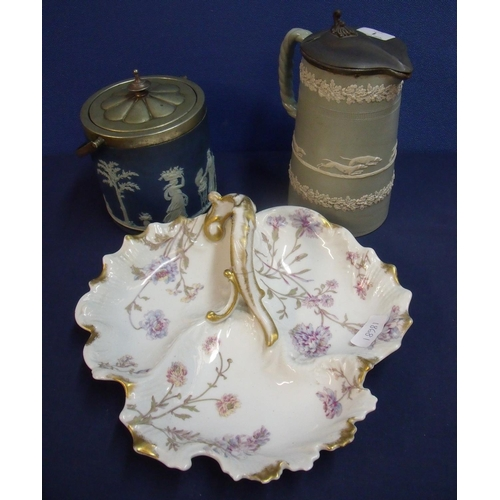 1 - Wedgewood blue jasperware biscuit barrel with silver plated mounts with impressed marks on base, two...