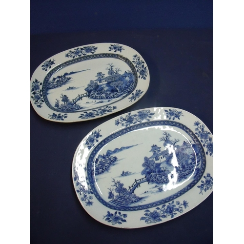 15 - Pair of 18th/19th C Chinese oval blue and white platters (35cm x 27cm x4cm)...
