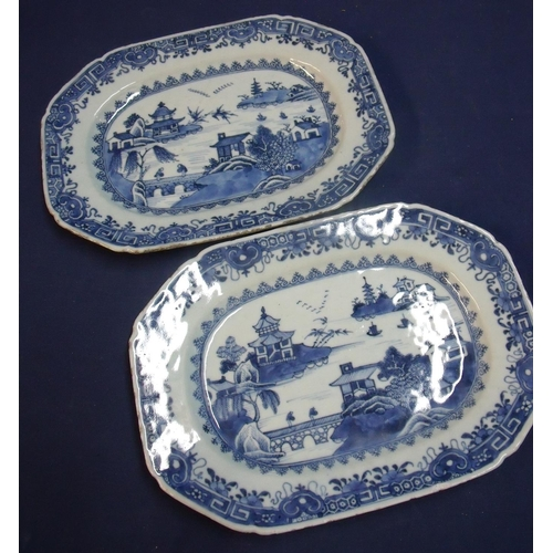 16 - Pair of 19th C Chinese blue and white rectangular form serving platters depicting landscape scenes (...