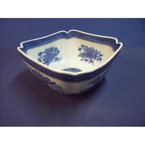 17 - Large 19th/20th C blue and white bowl of square form depicting floral details and central circle ori...